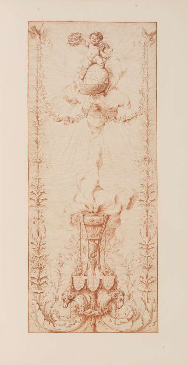 Design for a Decorative Panel with a Cherub Seated on a Globe