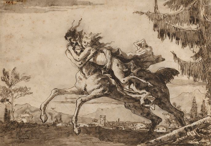Giovanni Battista Tiepolo - A Centaur Carrying off a Female Faun | MasterArt