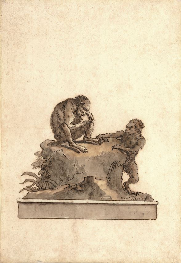 Giovanni Domenico TIEPOLO - Two Monkeys on a Rock | MasterArt