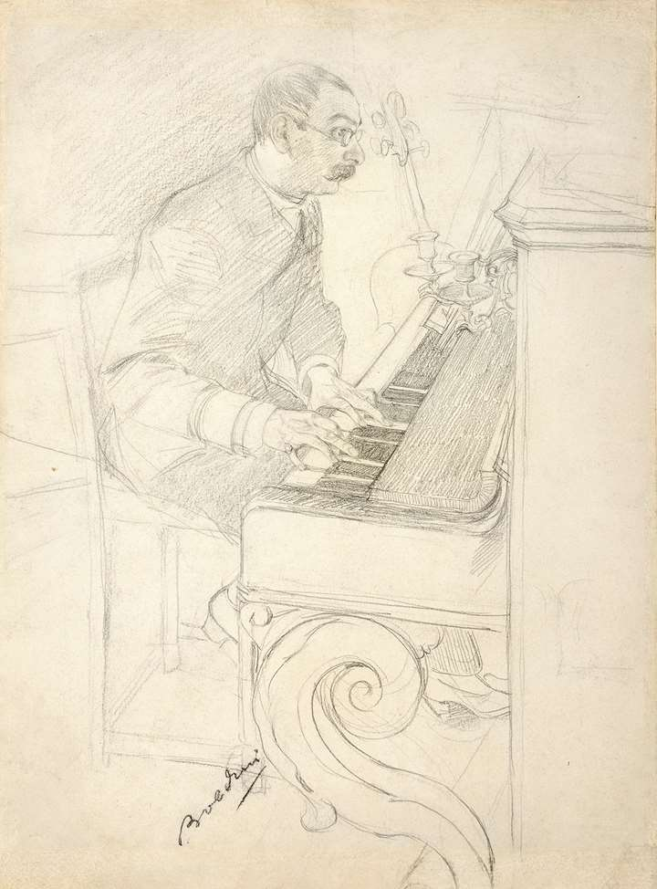 A Man Playing a Piano in the Artist's Studio