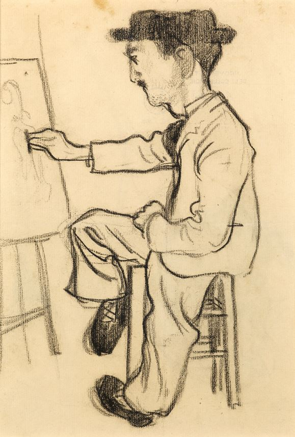 Henri Evenepoel - A Seated Artist, Possibly Toulouse-Lautrec, Drawing at an Easel | MasterArt