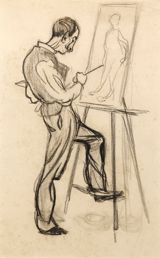 Henri Evenepoel - Caricature of an Artist, thought to be Adolphe Crespin, Painting at an Easel | MasterArt
