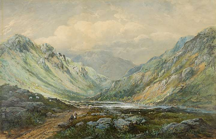 Figures in a Scottish Mountain Valley