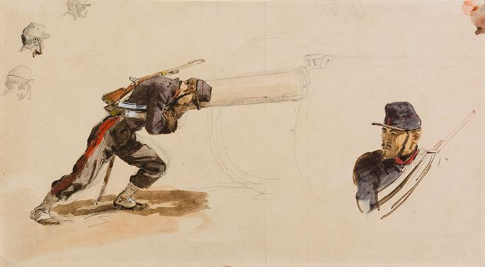 Isidore PILS - A Soldier Pushing a Cannon, and other Studies of Soldiers | MasterArt
