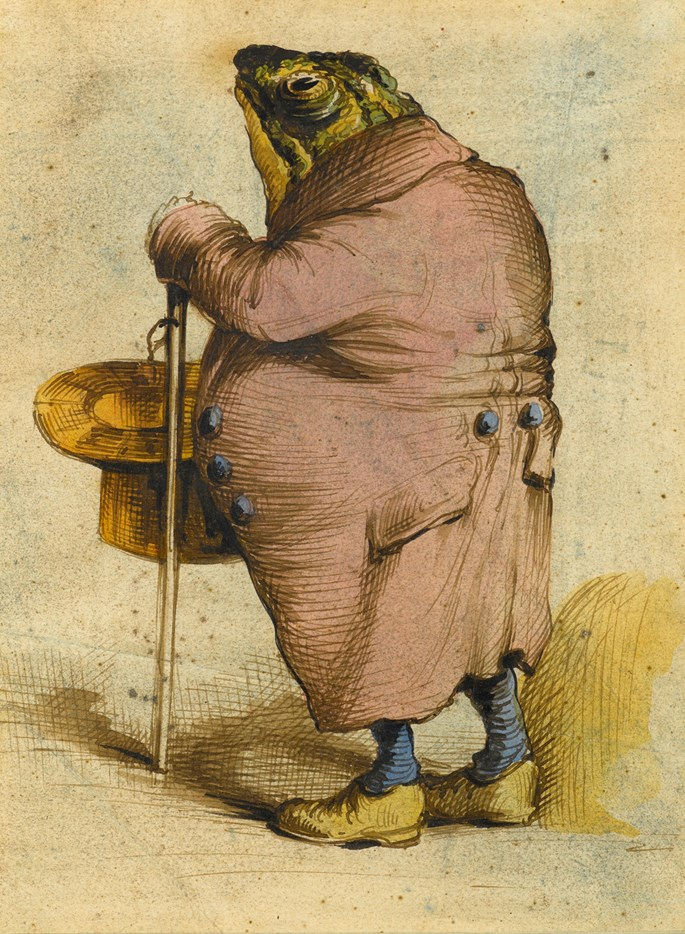 J. J. GRANDVILLE - A Frog in an Overcoat, Holding a Top Hat and Cane | MasterArt