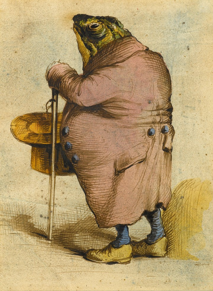 A Frog in an Overcoat, Holding a Top Hat and Cane