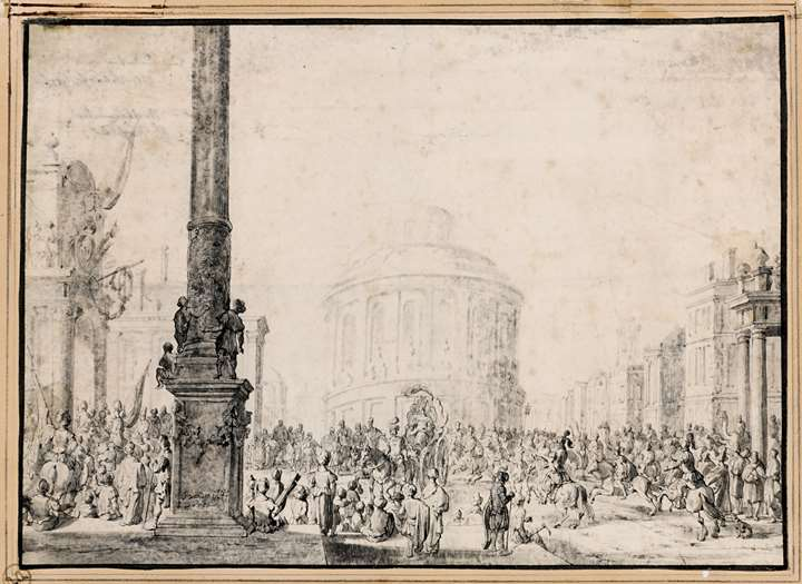 A Procession Before a Circular Temple