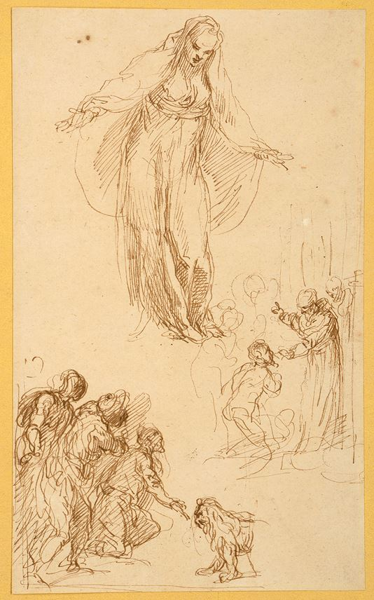 Jacopo PALMA GIOVANE - A Sheet of Figure Studies with the Virgin or a Female Saint, A Man Kneeling Before a Saint, and Several Figures Before a Lion | MasterArt