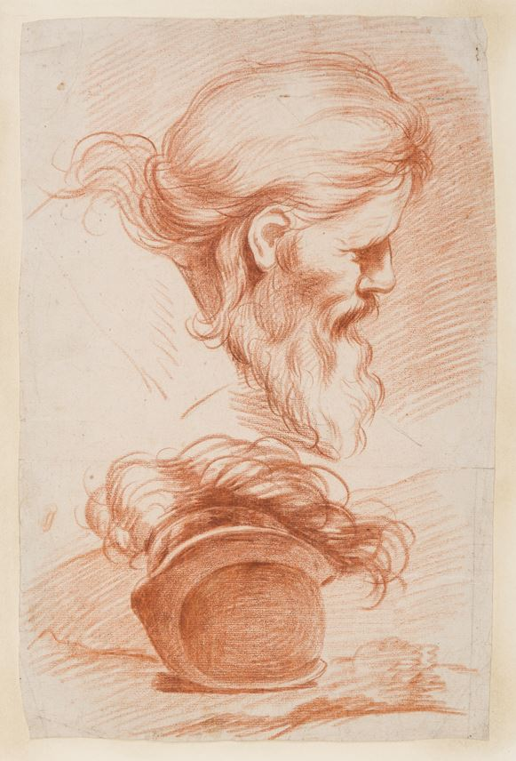 Jacques DUMONT LE ROMAIN - Studies of the Head of a Bearded Man and a Helmet | MasterArt