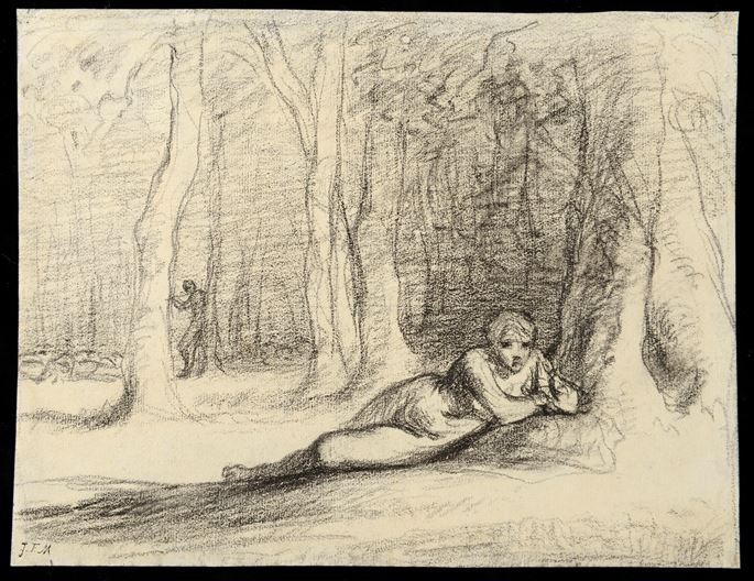 Jean-François MILLET - A Reclining Nymph in a Wooded Landscape | MasterArt