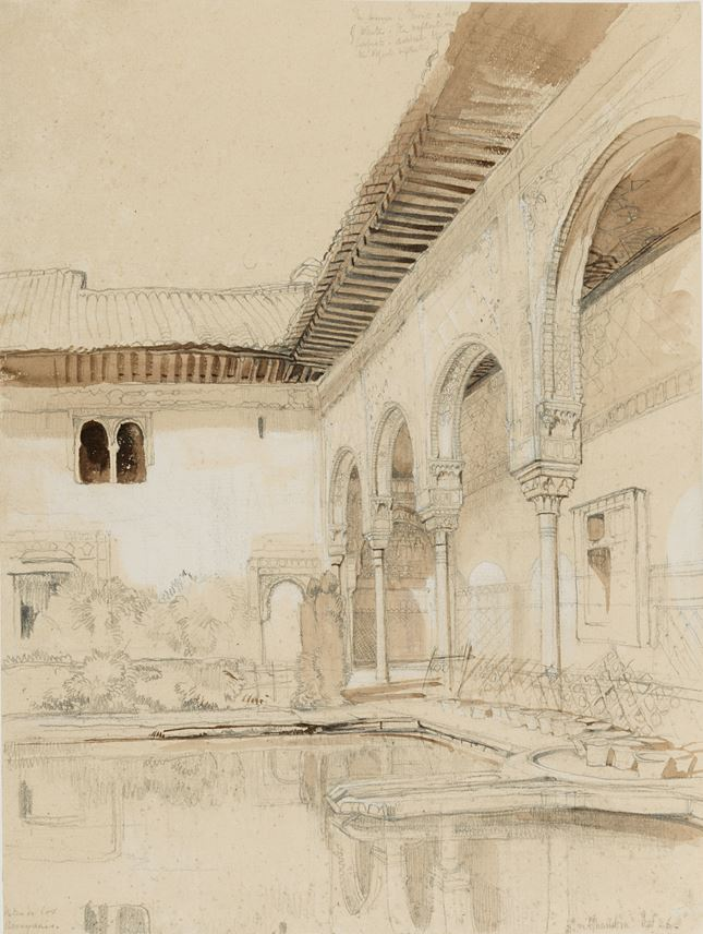John Frederick LEWIS - The Patio de los Arrayanes at the Alhambra | MasterArt