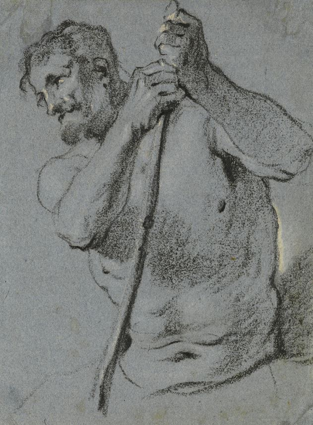 Lucas FRANCHOYS THE YOUNGER - A Half-Length Study of a Male Nude Holding a Staff | MasterArt