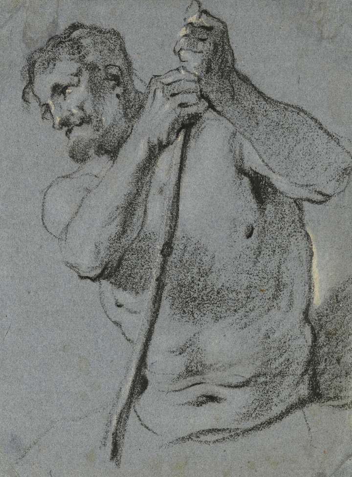 A Half-Length Study of a Male Nude Holding a Staff