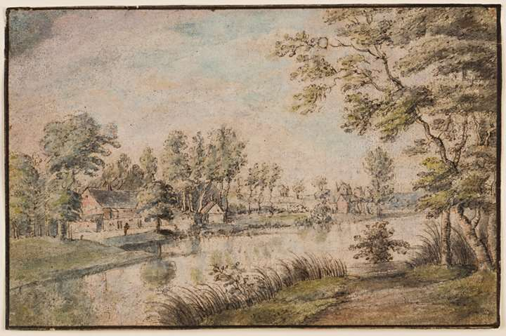 A Wooded Landscape with Houses Seen Across a River