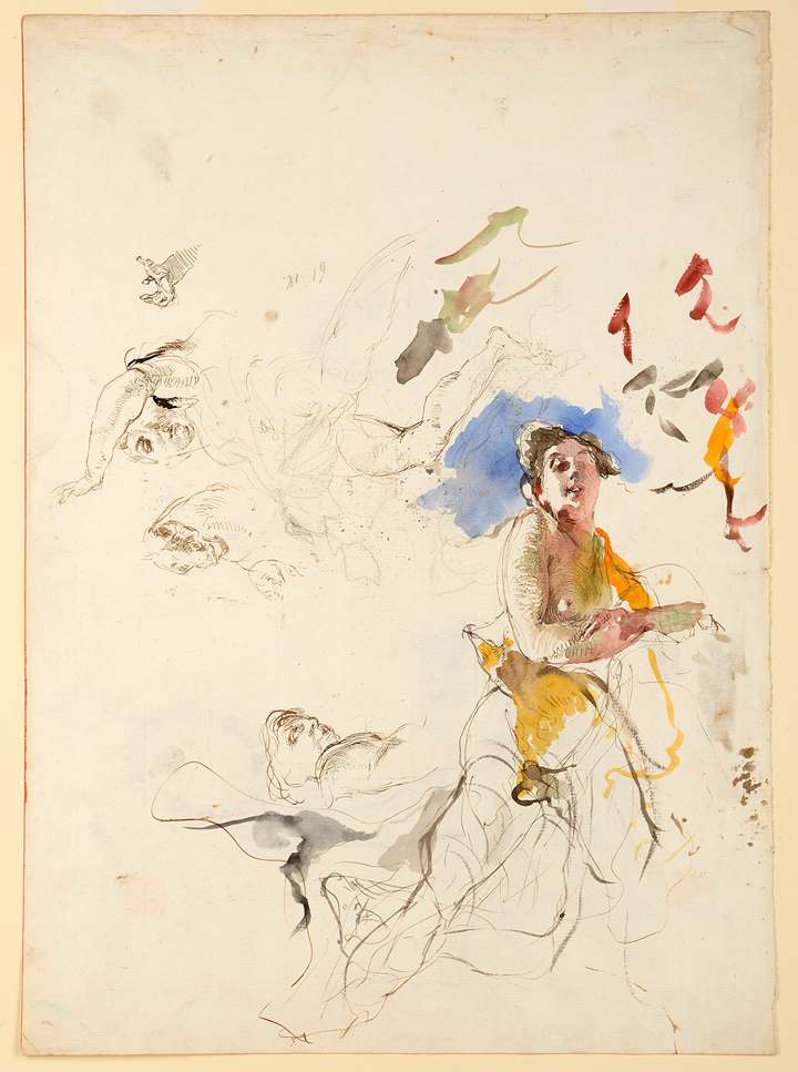 Studies of Women [recto], Two Studies of a Woman Holding a Laurel Wreath [verso]