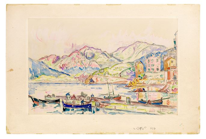 PAUL SIGNAC - View of a Mediterranean Port (The Bay of Ajaccio, Corsica?) | MasterArt