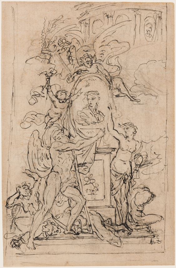Philibert-Benoît DE LA RUE - Study for a Frontispiece or Monument, with Allegorical Figures Surrounding an Oval Portrait of a Young Woman | MasterArt