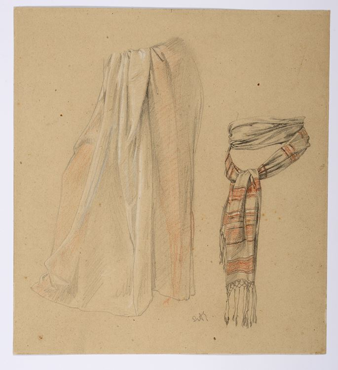 Sir Lawrence Alma-Tadema - Studies of a Skirt and a Tied Scarf | MasterArt