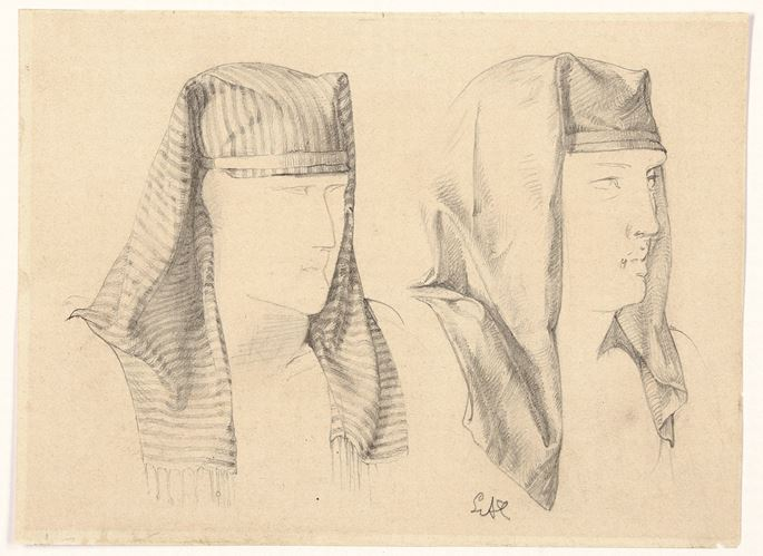 Sir Lawrence Alma-Tadema - Two Studies of an Egyptian Headress | MasterArt