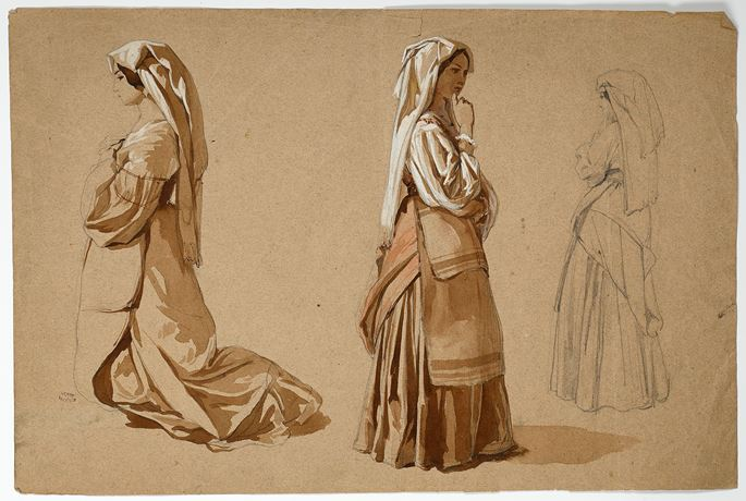Théodore VALERIO - Three Studies of an Italian Peasant Woman | MasterArt