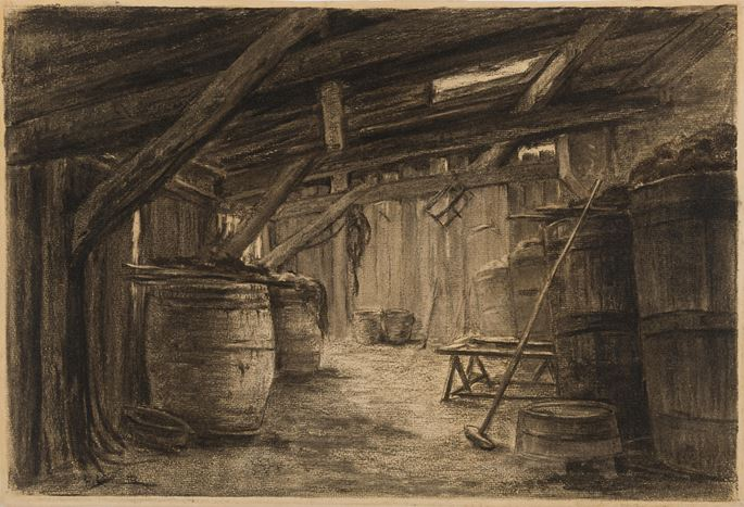 Léon Augustin LHERMITTE - The Interior of a Barn | MasterArt