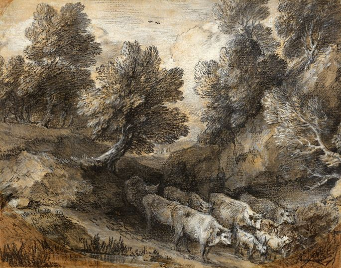 Thomas GAINSBOROUGH - Wooded Landscape with Cattle and Goats | MasterArt