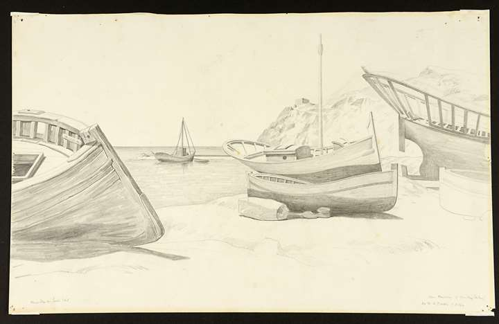 Fishing Boats on a Beach [recto], Landscape with Farm Buildings by a Stream [verso]