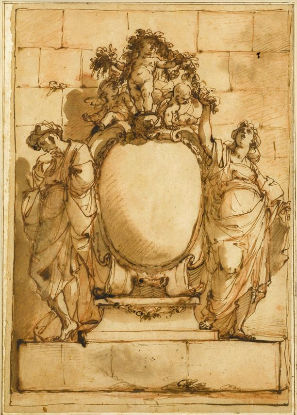 Ubaldo GANDOLFI - Design for a Monument or Frontispiece, with a Male and Female Figure Flanking a Cartouche, Three Putti Holding a Garland Above | MasterArt