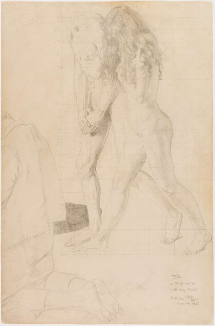 Study for The Holy Well: A Nude Couple and a Kneeling Man