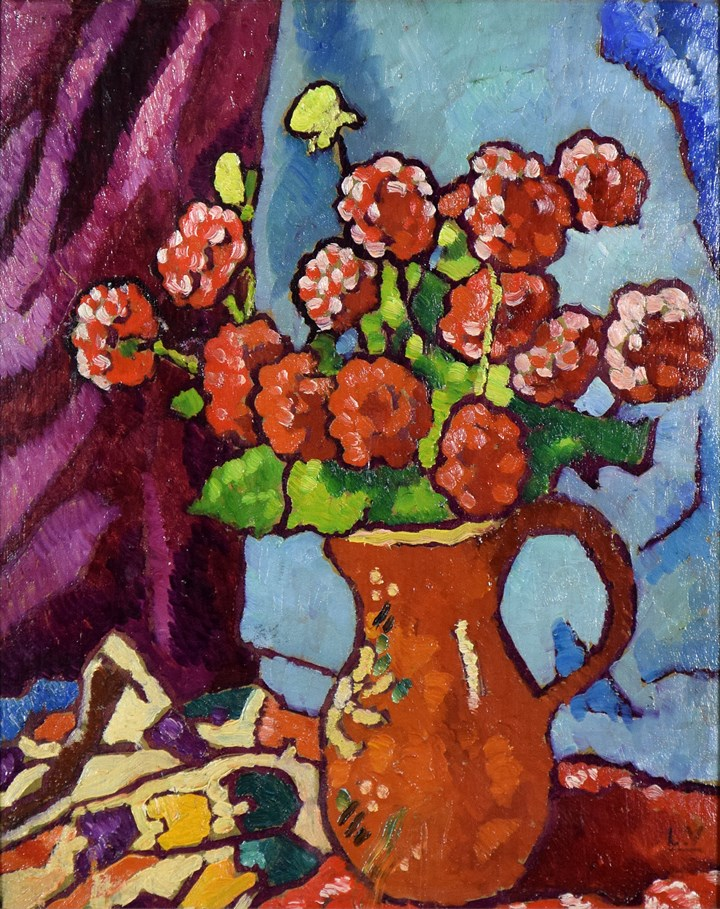 Fleurs Rouges à la Cruche Brune