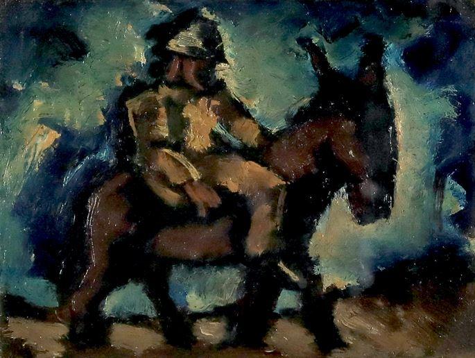 Josef Herman - Man with a Donkey  | MasterArt