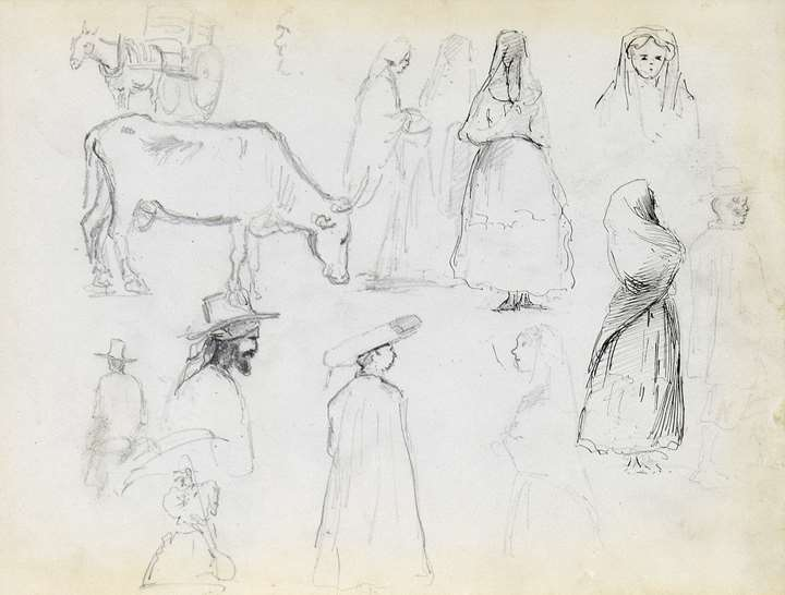 Studies of Figures, a Cow in Profile and a Horse Pulling a Cart