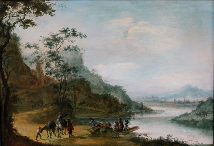 Gillis Neyts (Attributed to) - A wooded landscape with figures crossing a river | MasterArt