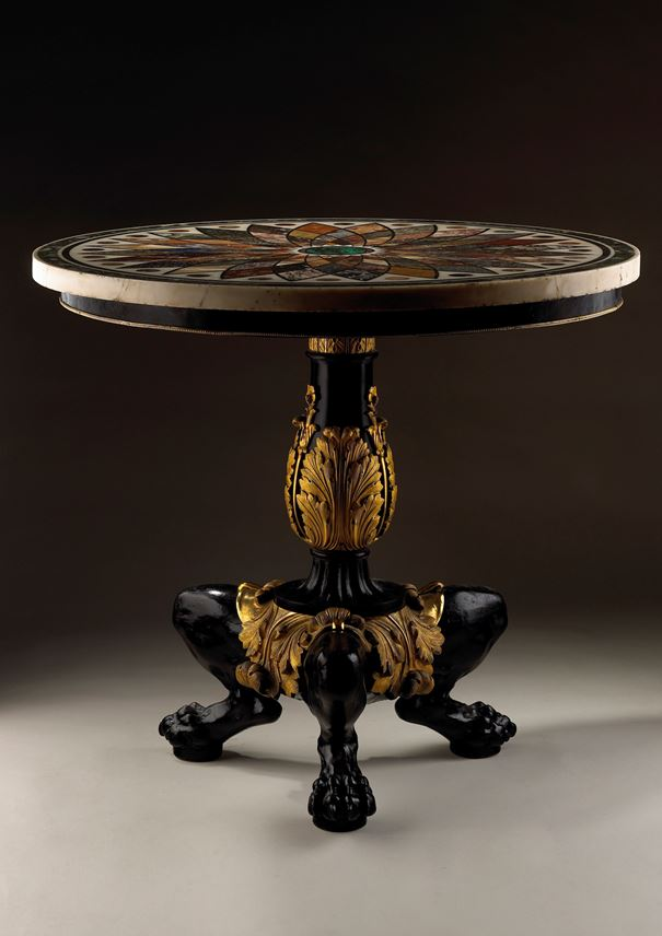 Giacomo Raffaelli - Important pietra dura marble table top, on a bronze and cast iron base | MasterArt