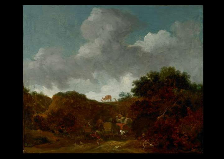 Landscape with Brigands attacking travellers
