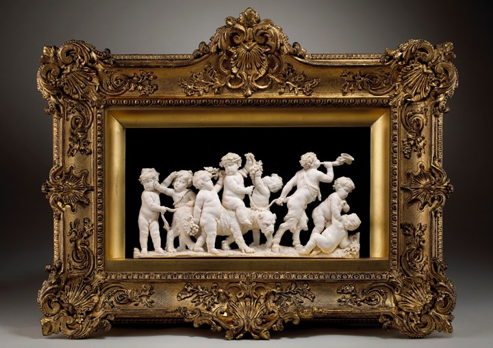 Putti with the infant Bacchus riding a panther led by a young satyr