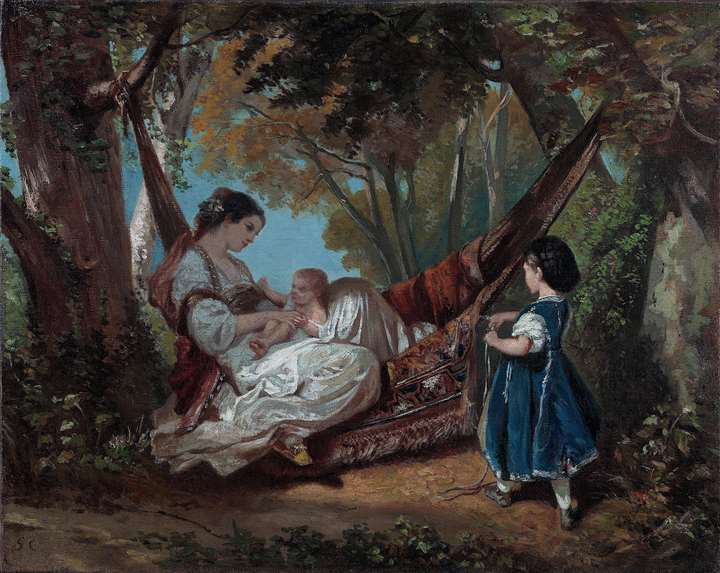Mother and Child on a Hammock - Femme au hamac, tenant son enfant