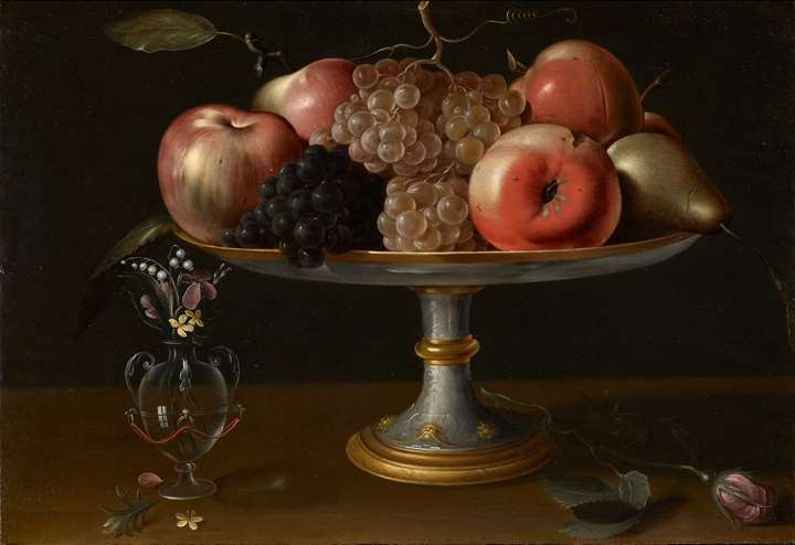Still-life with Apples, Pears and Grapes, Flowers in a Glass Vase and a Rose