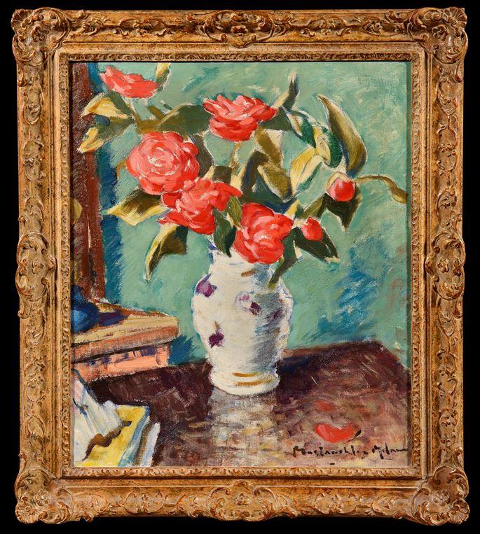 John  Maclauchlan Milne - Red Roses in a Vase | MasterArt