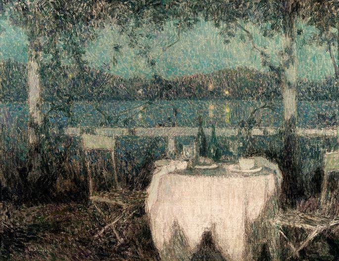 Henri Eugene Augustin Le Sidaner - La Table sur la terrasse au clair de lune, Villafranche-sur-Mer | MasterArt