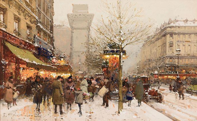 Eugène Galien Laloue - Les Grands Boulevards sous la neige | MasterArt