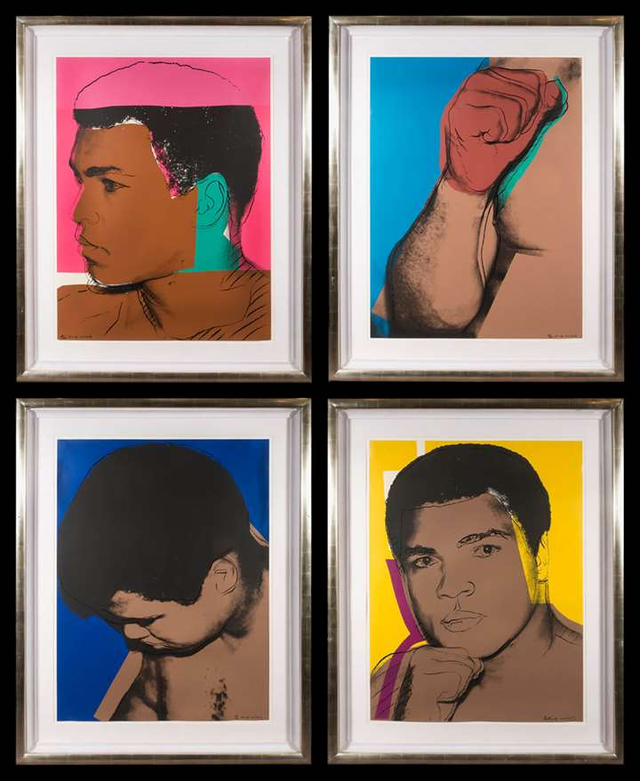 Mohammed Ali Set of four screenprints on Strathmore Bristol paper