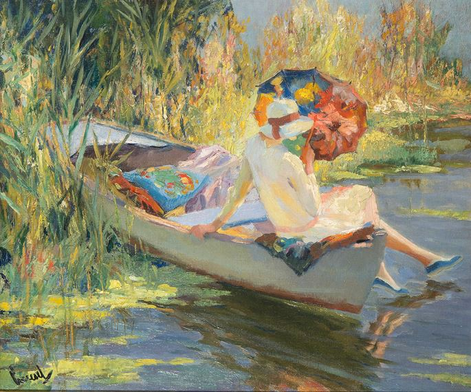 Edward Cucuel - Lady with Umbrella | MasterArt