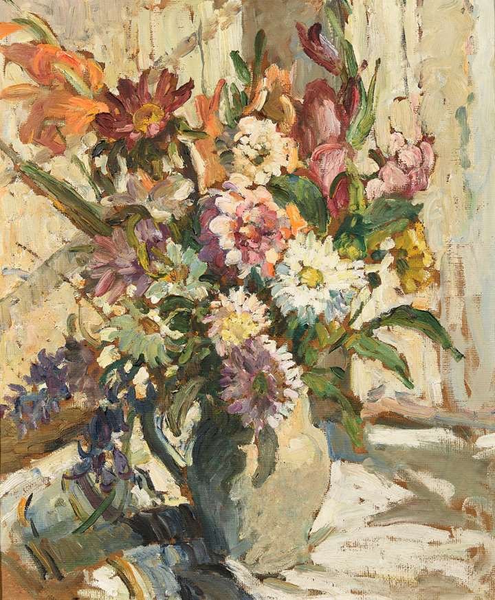 Still Life of Chrysanthemums and Other Flowers in a Jug