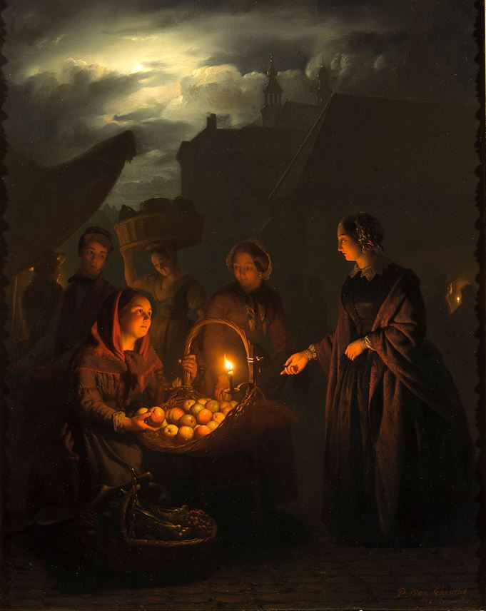 Petrus van Schendel - The Apple Seller | MasterArt