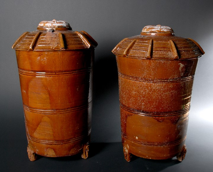 Pair of Large Brown Glazed Graneries and Covers - Han Dynasty