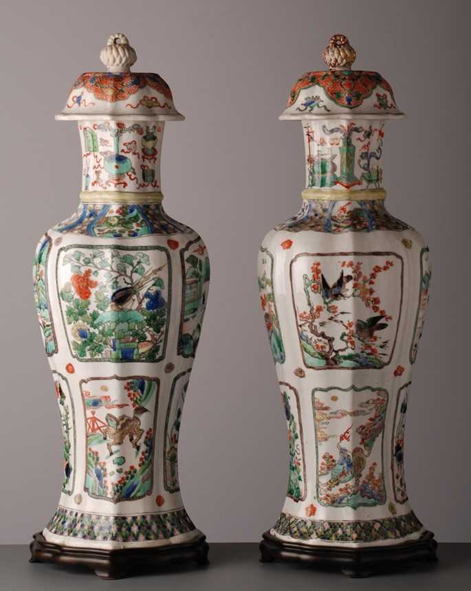 Pair of Lobed Baluster Vases & Covers - Kangxi period | MasterArt