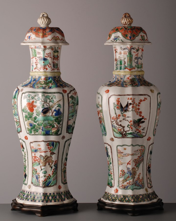 Pair of Lobed Baluster Vases & Covers - Kangxi period