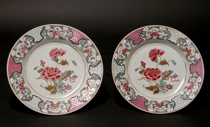 Pair of Famille Rose Plates - Qianlong period
