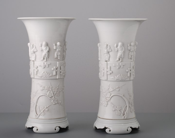 Pair of Blanc de Chine beakers